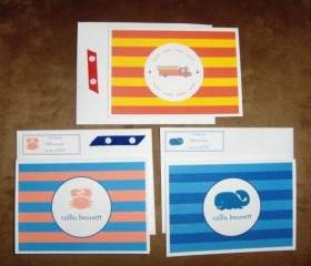 Set of 10 Kids Personalized Note Cards Stationery *Can be made with any symbol*