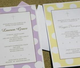 First Communion, Baptism, Shower Invitations and More Set of 20 Printed Invites with Envelopes